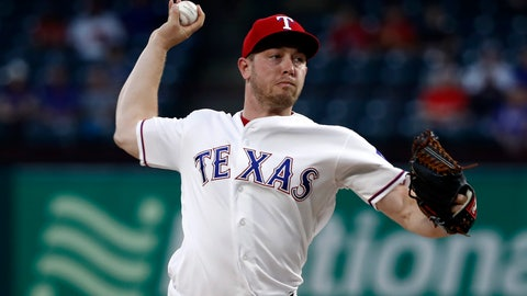<p>               Texas Rangers starting pitcher Adrian Sampson throws to the Pittsburgh Pirates in the first inning of a baseball game in Arlington, Texas, Tuesday, April 30, 2019. (AP Photo/Tony Gutierrez)             </p>