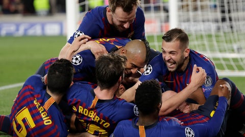 <p>               Barcelona players celebrate after Lionel Messi scored his side's third goal during the Champions League semifinal, first leg, soccer match between FC Barcelona and Liverpool at the Camp Nou stadium in Barcelona, Spain, Wednesday, May 1, 2019. (AP Photo/Emilio Morenatti)             </p>