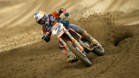 <p>               In this May 8, 2019 image provided by Racer X Illustrated, motocross rider Cooper Webb rides during testing at Fox Raceway in Pala, Calif. Webb expected his first season with KTM Racing to be a building year, particularly after struggling the preview two years. Instead, he enters the outdoor season as one of the favorites after winning his first Supercross title.(Simon Cudby/Racer X Illustrated via AP)             </p>