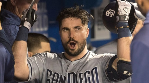 <p>               San Diego Padres Austin Hedges celebrates in the dugout after he hit a home run against the Toronto Blue Jays during the third inning of a baseball game Friday, May 24, 2019, in Toronto. (Fred Thornhill/The Canadian Press via AP)             </p>