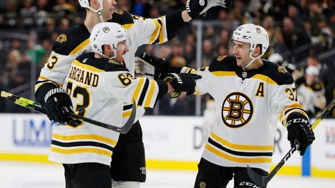 <p>               FILE - In this Feb. 20, 2019, file photo, Boston Bruins' Brad Marchand, front, celebrates with teammates Zdenoa Chara, back left, and Patrice Bergeron after scoring against the Vegas Golden Knights during the third period of an NHL hockey game in Las Vegas. The three veterans who hoisted the Stanley Cup after winning it all in 2011 are among the core Bruins who will host the St. Louis Blues Monday, May 27, 2019, in Game 1 of the Stanley Cup Final. (AP Photo/John Locher, File)             </p>