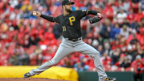 <p>               Pittsburgh Pirates starting pitcher Jordan Lyles throws during the first inning of a baseball game against the St. Louis Cardinals, Saturday, May 11, 2019, in St. Louis. (AP Photo/Scott Kane)             </p>