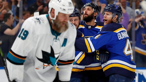 <p>               San Jose Sharks center Joe Thornton (19) skates past St. Louis Blues defenseman Carl Gunnarsson (4), of Sweden, as he celebrates with teammates after the Blues scored during the first period in Game 6 of the NHL hockey Stanley Cup Western Conference final series Tuesday, May 21, 2019, in St. Louis. (AP Photo/Jeff Roberson)             </p>