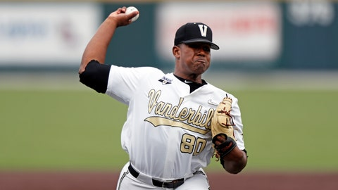 <p>               In this May 11, 2019, photo, Vanderbilt's Kumar Rocker throws to a batter during an NCAA college baseball game against Missouri in Nashville, Tenn. Rocker looks almost out of place on a pitcher's mound. The 6-foot-4, 255-pound Vanderbilt freshman played defensive end in high school, and football runs in the family. (AP Photo/Wade Payne)             </p>