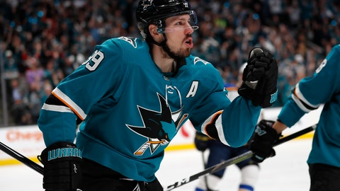 <p>               San Jose Sharks' Logan Couture (39) celebrates after scoring a goal against the St. Louis Blues in the first period in Game 1 of the NHL hockey Stanley Cup Western Conference finals in San Jose, Calif., on Saturday, May 11, 2019. (AP Photo/Josie Lepe)             </p>