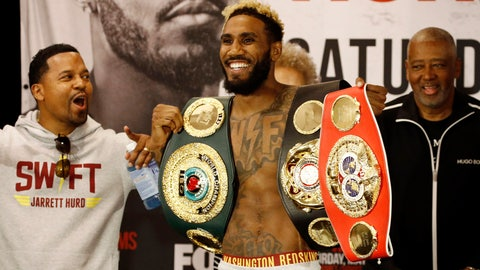 <p>               Super welterweight champion Jarrett Hurd shows off his championship belts during a weigh-in, Friday, May 10, 2019, in Arlington, Va., in advance of a boxing match against top contender Julian Williams. The pair are scheduled to square off on Saturday in Fairfax, Va. (AP Photo/Patrick Semansky)             </p>
