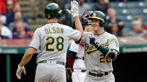 <p>               Oakland Athletics' Mark Canha (20) is congratulated by Matt Olson after Canha hit a two-run home run off Cleveland Indians starting pitcher Trevor Bauer in the third inning of a baseball game, Tuesday, May 21, 2019, in Cleveland. Olson scored on the play. (AP Photo/Tony Dejak)             </p>