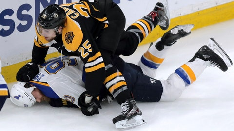 <p>               Boston Bruins' Brandon Carlo, top, takes down St. Louis Blues' Ryan O'Reilly during the third period in Game 1 of the NHL hockey Stanley Cup Final, Monday, May 27, 2019, in Boston. (AP Photo/Charles Krupa)             </p>