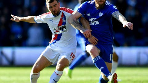 <p>               Cardiff City's Aron Gunnarsson, right, and Crystal Palace's James McArthur battle for the ball during their English Premier League soccer match at Cardiff City Stadium, Cardiff, Wales, Saturday May 4, 2019. (Simon Galloway/PA via AP)             </p>