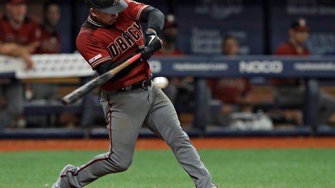 <p>               Arizona Diamondbacks' Eduardo Escobar hits a single off Tampa Bay Rays relief pitcher Adam Kolarek during the 13th inning of a baseball game Wednesday, May 8, 2019, in St. Petersburg, Fla. The Diamondbacks won 3-2. (AP Photo/Chris O'Meara)             </p>