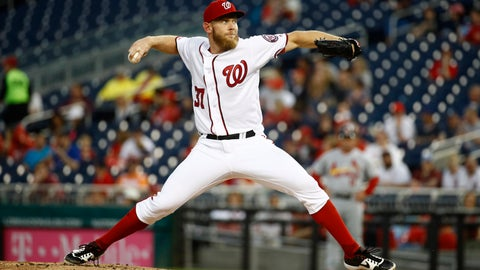 <p>               Washington Nationals starting pitcher Stephen Strasburg throws to the St. Louis Cardinals during the second inning of a baseball game Thursday, May 2, 2019, in Washington. (AP Photo/Patrick Semansky)             </p>