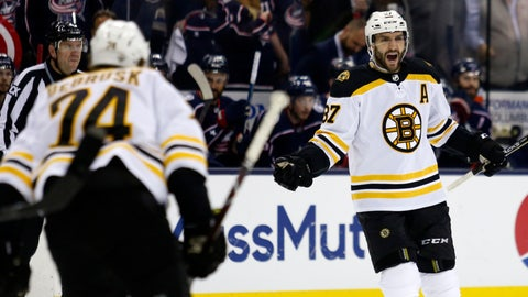 <p>               Boston Bruins forward Patrice Bergeron, right, celebrates his goal against the Columbus Blue Jackets with forward Jake DeBrusk during the first period of Game 4 of an NHL hockey second-round playoff series in Columbus, Ohio, Thursday, May 2, 2019. (AP Photo/Paul Vernon)             </p>