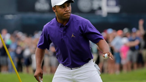 <p>               Harold Varner III reacts after sinking a putt for birdie on the first green during the final round of the PGA Championship golf tournament, Sunday, May 19, 2019, at Bethpage Black in Farmingdale, N.Y. (AP Photo/Seth Wenig)             </p>