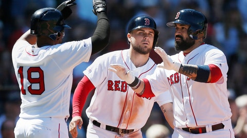 <p>               Boston Red Sox's Sandy Leon, right, celebrates his three-run home run that also drove in Michael Chavis, center, and Jackie Bradley Jr. (19) during the third inning of a baseball game against the Seattle Mariners in Boston, Saturday, May 11, 2019. (AP Photo/Michael Dwyer)             </p>
