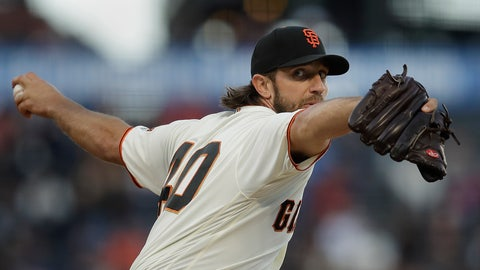 <p>               San Francisco Giants pitcher Madison Bumgarner works against the Los Angeles Dodgers during the first inning of a baseball game Wednesday, May 1, 2019, in San Francisco. (AP Photo/Ben Margot)             </p>
