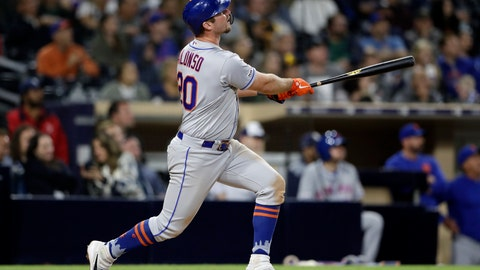 <p>               New York Mets' Pete Alonso watches his two-run home run during the ninth inning of the team's baseball game against the San Diego Padres, Tuesday, May 7, 2019, in San Diego. (AP Photo/Gregory Bull)             </p>