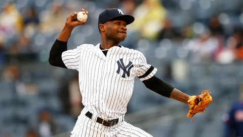<p>               New York Yankees' starting pitcher Domingo German delivers against the Minnesota Twins in the first inning of a baseball game Sunday, May 5, 2019, in New York. (AP Photo/Noah K. Murray)             </p>