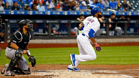 <p>               New York Mets' Amed Rosario watches his grand slam in front of Miami Marlins catcher Jorge Alfaro during the first inning of a baseball game Friday, May 10, 2019, in New York. (AP Photo/Adam Hunger)             </p>
