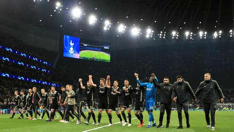 <p>               Ajax players celebrate after the final whistle of the Champions League, semifinal first leg soccer match at the Tottenham Hotspur Stadium, London, Tuesday April 30, 2019. Ajax beat Tottenham 1-0. (Mike Egerton/PA via AP)             </p>
