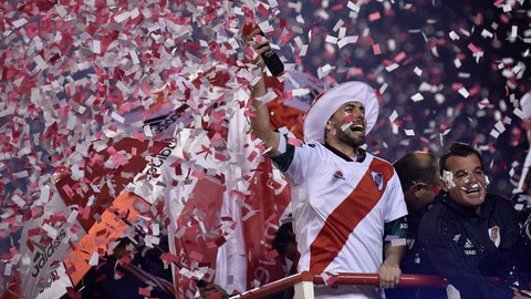 <p>               River Plate celebrates their 3-0 Recopa victory over Brazil's Athletico Paranaense at the Recopa Sudamericana final soccer match in Buenos Aires, Argentina, Thursday, May 30, 2019. (AP Photo/Gustavo Garello)             </p>
