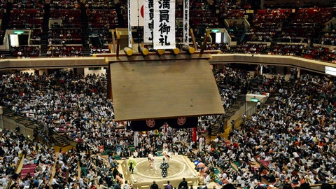 <p>               In this May 12, 2019, photo, banners thanking for a sellout crowd are displayed on the first day of Summer Grand Sumo Tournament in Tokyo. Plans for U.S. President Donald Trump to check out the ancient Japanese sport of sumo wrestling during a state visit are raising security issues for organizers. (Yoshitaka Sugawara/Kyodo News via AP)             </p>
