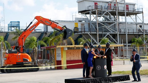 <p>               Soccer commentator Fernando Fiore, far right, counts down as dignitaries from the city and Inter Miami CF press a button to signal an excavator to start knocking down an old ticket booth during a demolition ceremony at the old Lockhart Stadium, Wednesday, May 8, 2019, in Fort Lauderdale, Fla. A new stadium will be built at that site and will serve as the temporary home for Inter Miami CF while its permanent stadium is built at Freedom Park in Miami. (AP Photo/Wilfredo Lee)             </p>