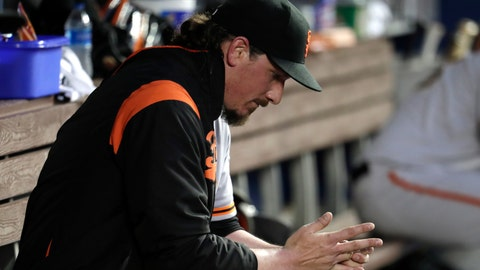 <p>               San Francisco Giants starting pitcher Jeff Samardzija sits in the dugout during the fourth inning of a baseball game against the Miami Marlins, Tuesday, May 28, 2019, in Miami. (AP Photo/Lynne Sladky)             </p>