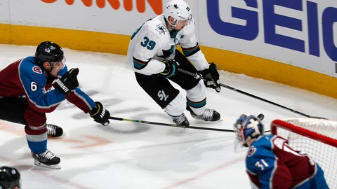 <p>               San Jose Sharks center Logan Couture, back right, drives to the net with the puck as Colorado Avalanche defenseman Erik Johnson, back left, and goaltender Philipp Grubauer defend during the first period of Game 3 of an NHL hockey second-round playoff series Tuesday, April 30, 2019, in Denver. (AP Photo/David Zalubowski)             </p>
