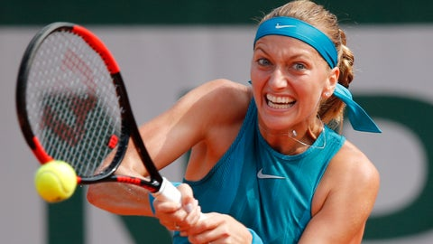 <p>               FILE - In this May 28, 2018, file photo, Petra Kvitova, of the Czech Republic, returns a shot against Paraguay's Veronica Cepede Royg during their first round match at the French Open tennis tournament at the Roland Garros stadium in Paris, France. (AP Photo/Christophe Ena, File)             </p>