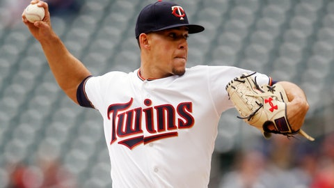 <p>               Minnesota Twins pitcher Jose Berrios throws against the Houston Astros in the first inning of a baseball game Thursday, May 2, 2019, in Minneapolis. (AP Photo/Jim Mone)             </p>