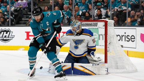 <p>               St. Louis Blues goaltender Jordan Binnington (50) makes a save against San Jose Sharks' Joe Pavelski (8) in the first period in Game 5 of the NHL hockey Stanley Cup Western Conference finals in San Jose, Calif., on Sunday, May 19, 2019. (AP Photo/Josie Lepe)             </p>