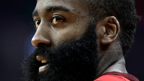 <p>               Houston Rockets' James Harden stands on the court during the first half in Game 6 of the team's second-round NBA basketball playoff series against the Golden State Warriors on Friday, May 10, 2019, in Houston. (AP Photo/Eric Gay)             </p>