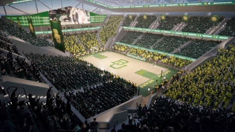 <p>               This image provided by Baylor University shows a rendering of the new Baylor basketball facility. Baylor is moving forward with plans to build the new facility on the banks of Brazos River. (AECOM/Courtesy of Baylor University via AP)             </p>