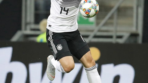 <p>               FILE---Picture taken Sept.9, 2018 shows Germany's Nico Schulz runs with the ball during a friendly soccer match between Germany and Peru in Sinsheim, Germany. (AP Photo/Michael Probst)             </p>