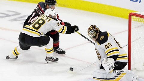 <p>               Boston Bruins' Matt Grzelcyk (48) and goalie Tuukka Rask, of Finland, defend against Carolina Hurricanes' Justin Williams (14) during the third period in Game 3 of the NHL hockey Stanley Cup Eastern Conference final series in Raleigh, N.C., Tuesday, May 14, 2019. Boston won 2-1. (AP Photo/Gerry Broome)             </p>