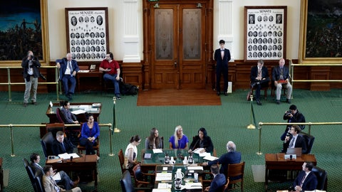 <p>               Former gymnasts, seated at center table, Jordan Schwikert, left, Amy Baumann, center, and Tasha Schwikert, right, take part in a hearing about the statute of limitations child sex abuse victims have to sue their abusers, Monday, May 13, 2019, in Austin, Texas. In Texas, lawmakers quietly removed a bill's provision allowing child sex abuse victims to sue institutions and are now shielding the very groups that lobbied them to do so. (AP Photo/Eric Gay)             </p>