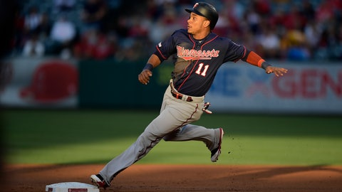 <p>               Minnesota Twins' Jorge Polanco rounds second on a single by Willians Astudillo during the first inning of a baseball game against the Los Angeles Angels, Monday, May 20, 2019, in Anaheim, Calif. (AP Photo/Mark J. Terrill)             </p>