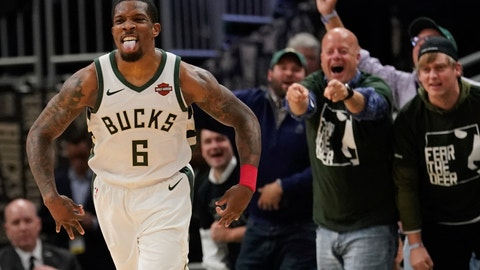 <p>               Milwaukee Bucks' Eric Bledsoe reacts to a basket during the second half of Game 5 of a second round NBA basketball playoff series against the Boston Celtics Wednesday, May 8, 2019, in Milwaukee. The Bucks won 116-91 to win the series. (AP Photo/Morry Gash)             </p>