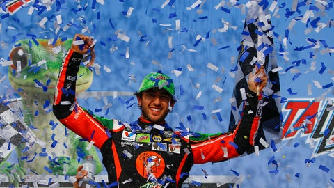 <p>               Chase Elliott celebrates after winning a NASCAR Cup Series auto race at Talladega Superspeedway, Sunday, April 28, 2019, in Talladega, Ala. (AP Photo/Butch Dill)             </p>