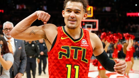 <p>               FILE - In this March 31, 2019, file photo, Atlanta Hawks guard Trae Young (11) reacts after the Hawks won in overtime of an NBA basketball game against the Milwaukee Bucks,in Atlanta. Hawks general manager Travis Schlenk has plenty to be excited about as his team's first NBA draft pick is slotted at No. 5 entering next week's draft lottery. The Hawks had big production from last year's first pick, point guard Trae Young, and will be looking for another impact player to boost the team's rebuilding effort. (AP Photo/Todd Kirkland, File)             </p>