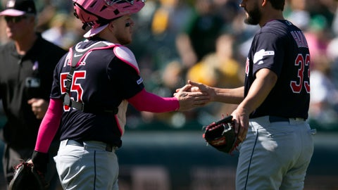 <p>               Cleveland Indians catcher Roberto Perez (55) and closer Brad Hand celebrate their victory over the Oakland Athletics in a baseball game, Sunday, May 12, 2019, in Oakland, Calif. (AP Photo/D. Ross Cameron)             </p>