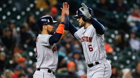 <p>               Houston Astros' Jake Marisnick (6) celebrates his two-run home run with teammate Robinson Chirinos in the seventh inning of a baseball game against the Detroit Tigers in Detroit, Monday, May 13, 2019. (AP Photo/Paul Sancya)             </p>