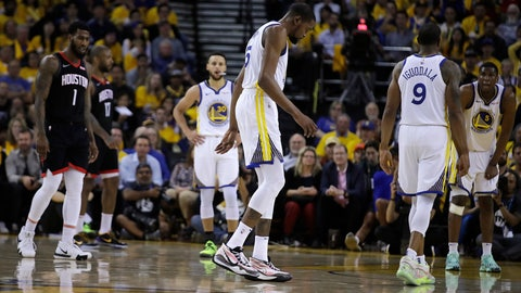 <p>               Golden State Warriors' Kevin Durant, center, limps off the court during the second half of Game 5 of the team's second-round NBA basketball playoff series against the Houston Rockets on Wednesday, May 8, 2019, in Oakland, Calif. (AP Photo/Ben Margot)             </p>