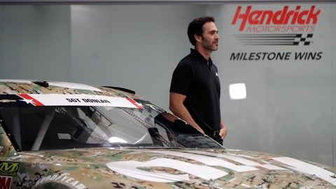 <p>               Jimmie Johnson stands by his race car for the Coca-Cola 600 NASCAR Cup series auto race during a news conference in Concord, N.C., Tuesday, May 14, 2019. The car includes the name of fallen soldier Army Sgt. Richard Donlan on the windshield. (AP Photo/Chuck Burton)             </p>