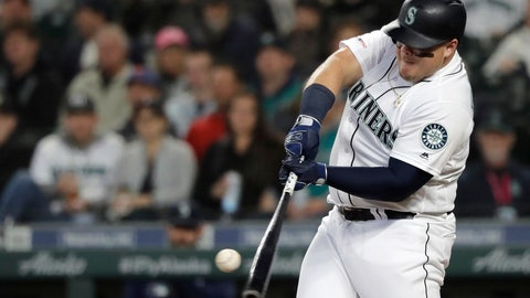 <p>               Seattle Mariners' Daniel Vogelbach hits a solo home run during the second inning of the team's baseball game against the Oakland Athletics, Tuesday, May 14, 2019, in Seattle. (AP Photo/Ted S. Warren)             </p>