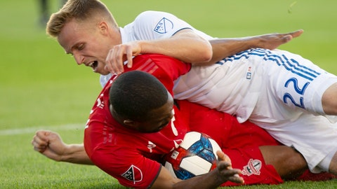 <p>               Toronto FC's Ashtone Morgan, bottom, is fouled by San Jose Earthquakes' Tommy Thompson during first half MLS soccer action in Toronto on Sunday, May 26, 2019. (Chris Young/The Canadian Press via AP)             </p>