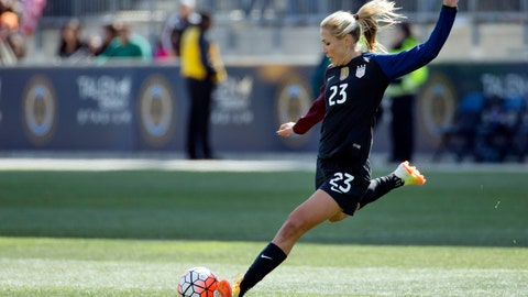 <p>               FILE - In this April 10, 2016, file photo, United States' Allie Long (23) plays the ball during the second half of an international friendly soccer match against Colombia in Chester, Pa. Long is among 23 players named to the team that was getting in its last three exhibition games this month before heading to Europe for the Women's World Cup, which opens June 7. (AP Photo/Chris Szagola, File)             </p>