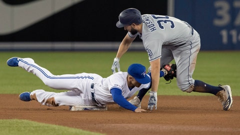 <p>               San Diego Padres' Eric Hosmer is out at second base trying to stretch a single into a double as Toronto Blue Jays second baseman Cavan Biggio makes the tag in the fourth inning of their baseball game in Toronto, Sunday, May 26, 2019. (Fred Thornhill/The Canadian Press via AP)             </p>