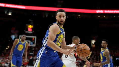 <p>               Golden State Warriors guard Stephen Curry (30) dribbles during the first half of Game 4 of the NBA basketball playoffs Western Conference finals against the Portland Trail Blazers, Monday, May 20, 2019, in Portland, Ore. (AP Photo/Ted S. Warren)             </p>