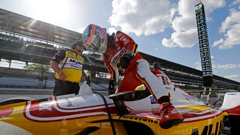 <p>               Takuma Sato, of Japan, climbs out of his car during practice for the Indianapolis 500 IndyCar auto race at Indianapolis Motor Speedway, Tuesday, May 14, 2019 in Indianapolis. (AP Photo/Darron Cummings)             </p>